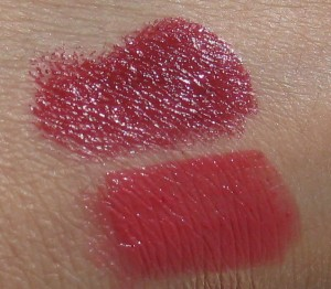 Laura Mercier Lip Colors in Sienna and Mango swatched.