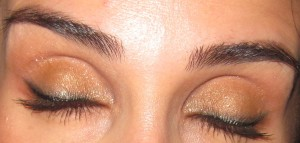 Laura Mercier Eye Canvas EC-3 as an eyeshadow base.  Color worn in photo after an 11 hour day.