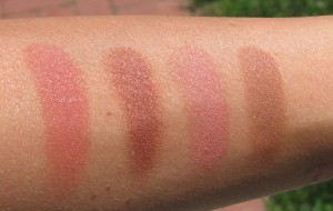 Swatches:  MAC Fiery Impact, MAC Sweet As Cocoa, MAC Warm Soul, Laura Mercier Ritual.
