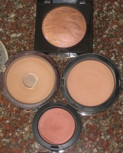 Counterclockwise:  Laura Mercier Ritual, Too faced Chocolate bronzer,  MAC Sweet As Cocoa Blush, Bobbi Brown Medium Bronzer.