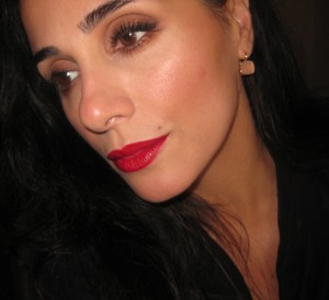 Daliia My Best Friend's Red Herbal lip stain freshly applied 9:00 am.