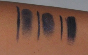 L-R:  Bobbi Brown Cobalt Ink, Bobbi Brown Denim Ink, L'Oreal Infallible Navy (does not dry down and smudges).