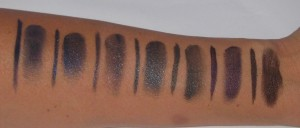 Bobbi Brown Gel liner Swatches:  Bottom row: Cobalt, Denim Ink, Twilight Shimmer Ink, Graphite Shimmer Ink. Top Row:  Forest Shimmer Ink, Violet Shimmer Ink, Chocolate Shimmer Ink.