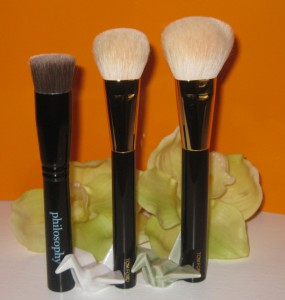Philosophy Supernatural Airbrush Brush vs. Tom Ford Cream Foundation brush vs. Tom Ford Cheek Brush.
