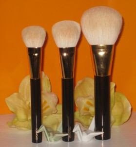 The Three Musketeers: Tom Ford cream Foundation brush, Cheek Brush, and Bronzer Brush.