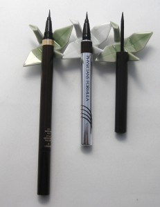 Comparison:  Tom Ford Eye Defining pen vs. Physician's Formula Eye Booster 2-in-1 Eyeliner vs. Laura Mercier Graphic Black Liner.
