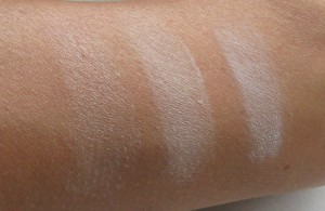 All swatches in natural lighting:  Nars, Hourglass, and MAC.