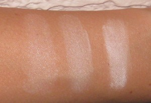 All swatches taking with a flash photography:  Nars, Hourglass, and MAC.