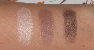 Makeup of the Week: Light:  MAC Too Chic Medium: Clarins Auburn. Dark: Clarins Dark Chocolate.