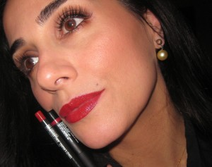 My preferred combo:   MAC Red Enriched with Nars Baroque Velvet Glossy Lip Pencil.