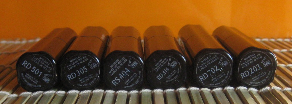 Shiseido Lacquer Rouge: L-R:  RD501, RD305, RS404, RD702, RD203.
