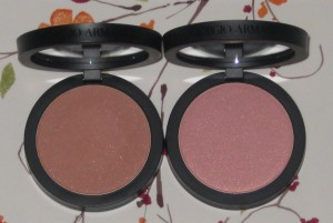 L-R:  Giorgio Armani Sheer Blush 4 Sand and 10 Beige.