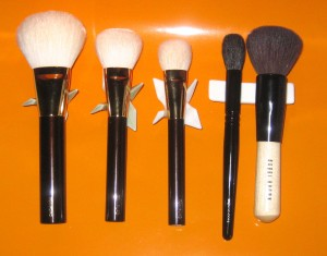 Brush Comparisons L-R: Tom Ford Bronzer Brush, Tom Ford Cheek Brush, Tom Ford Cream Foundation Brush, Wayne Goss Brush 02, Bobbi Brown Bronzer Brush.
