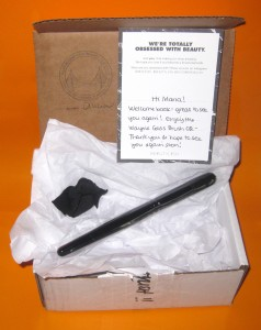 Wayne Goss Brush 02 packaging and note from Beautylish.com.
