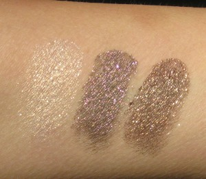 MAC Fluidline Swatches L-R: Chilled, It's Physical and Deliciously Rich.