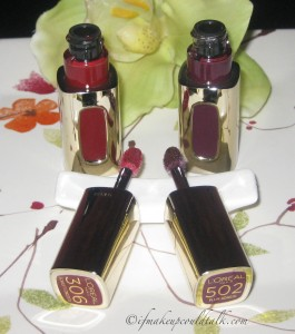 Extraordinaire Colour Riche by L'Oreal: #306 Scarlet Concerto and #502 Plum Adagio.