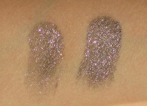 L:  MAC Its Physical Fluidline without Nars Smudge proof Eyeshdow Base. R:  MAC Its Physical Fluidline on top of Nars Smudge Proof Eyeshadow Base.