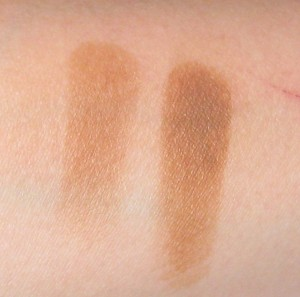 Both swatches rubbed with a tissue. L: MAC Uninterrupted (here) without Nars Smudge Proof Eyeshadow Base. R: MAC Uninterrupted on top of Nars Smudge Proof Eyeshadow Base.