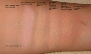 Comparison Swatches L-R: MAC Radiant Rose blended out, MAC Radiant Rose applied heavily, Edward Bess Concealer in Soft Beige, Eve pearl Salmon Concealer light shade in medium duo, EP Salmon Concealer darker shade in medium duo, Sunday Riley Concealer 125W.