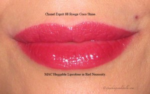 Top Lip: Chanel Esprit Rouge Coco Shine. Bottom Lip: MAC Huggable Lipcolour in red Necessity.