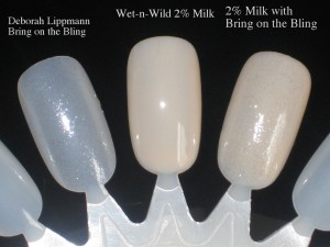 Nail Swatches: Deborah Lippmann bring on the Bling, Wet-n-Wild 2% Milk, both colors combined.