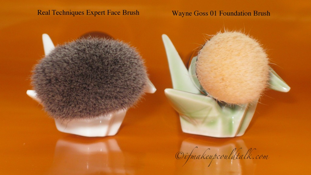 Real Techniques Expert Face Brush vs. Wayne Goss 01 Brush.