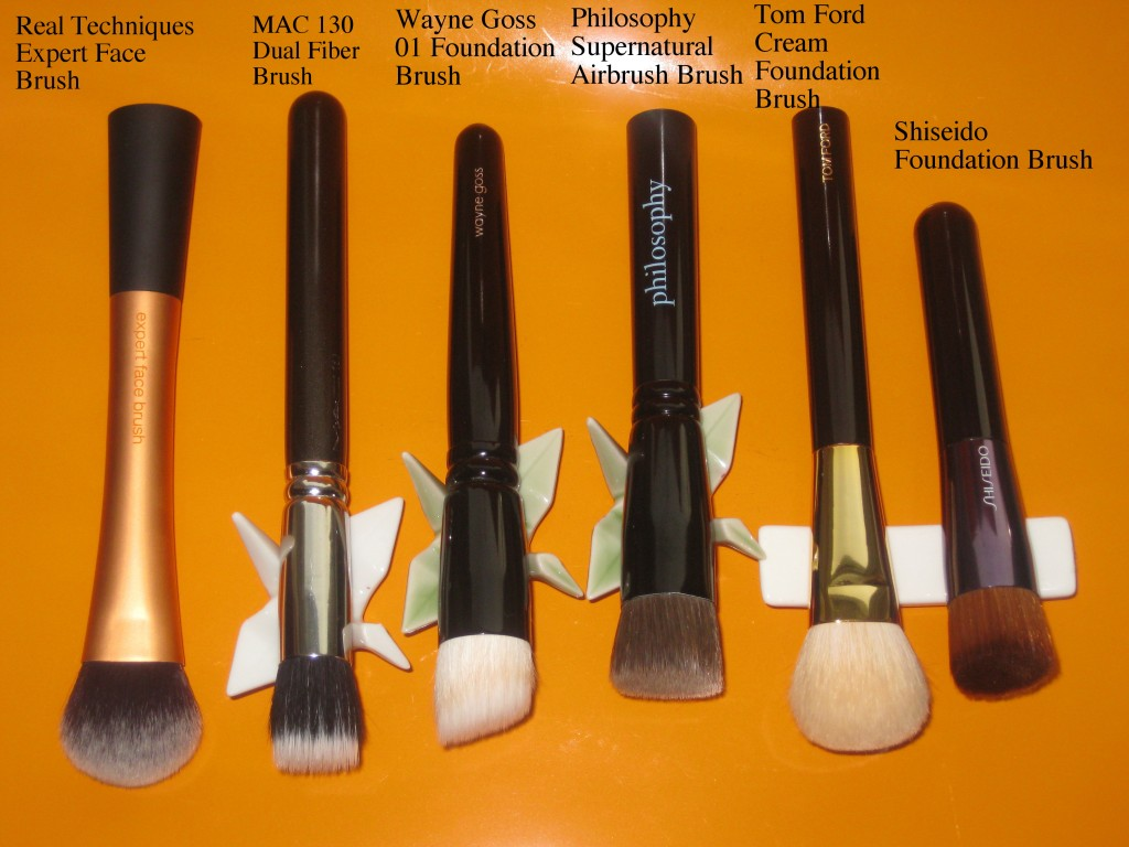 Foundation Brush Comparisons: Real techniques Expert Face Brush, MAC 130, Wayne Goss 01, Philosophy Supernatural Airbrush Brush, Tom Ford cream Foundation Brush, Shiseido Foundation Brush.