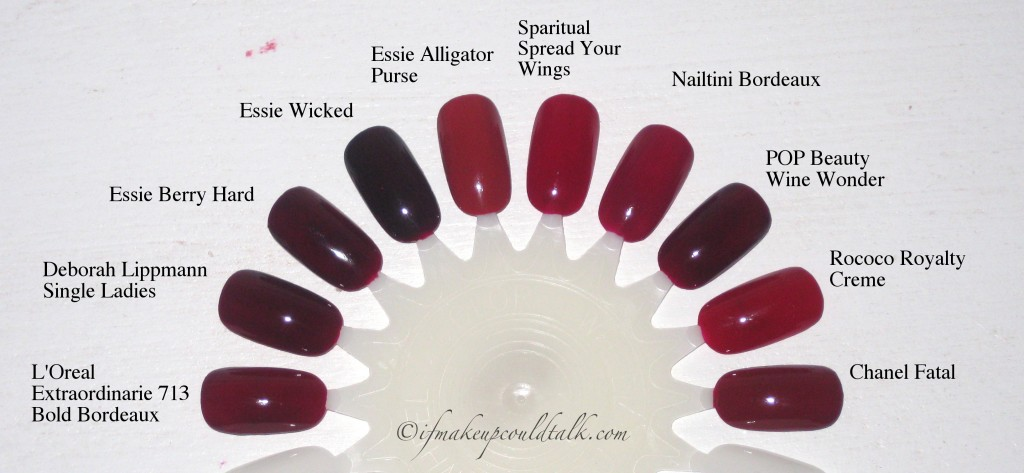 Color Comparisons: L'Oreal 713 Bold Bordeaux, Deborah Lipmann Single Ladies, Essie Berry Hard, Essie Wicked, Essie Alligator Purse, Sparitual Spread Your Wings, Nailtini Bordeaux, POP Beauty Wine Wonder, Rococo Royalty Creme, Chanel Fatal.