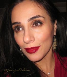 Valentine Day Makeup Look: Lip Combination 3: Lime Crime Velveteen in Red Velvet topped with Estee Lauder Ruby Glow High Intensity Lip Lacquer.