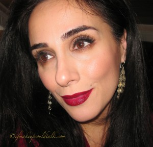 Valentine Day Makeup Look: Lip Combination 4: MAC Pro Longwear Lip Pencil in Kiss Me Quick with Estee Lauder Electric Wine High Intensity Lip Lacquer.