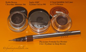 Comparisons L-R: Bobbi Brown Chocolate Shimmer Ink, Inglot Eyeliner Gel in #90, L'Oreal infallible in #174 Bronze, Physicians Formula 2-in-1 Eyeliner Deep Brown.