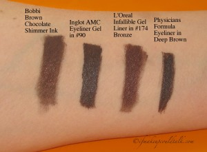 Comparisons Swatches L-R: Bobbi Brown Chocolate Shimmer Ink, Inglot Eyeliner Gel in #90, L'Oreal infallible in #174 Bronze, Physicians Formula 2-in-1 Eyeliner Deep Brown.