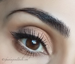 """Givenchy 2 Beige Mousseline Ombre Couture Cream Eyeshadow on the lid with Clarins Dark Chocolate in the outer """"v""""."""