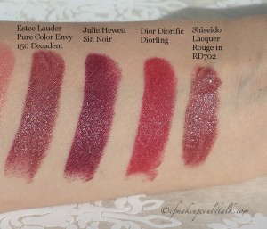 Comparisons Swatches L-R: Estee Lauder Pure Color Envy 150 Decadent, Julie Hewett Sin Noir, Dior Diorific Diorling, Shiseido Lacquer Rouge RD702.