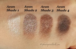 Avon Chocolate Sensation True Color Eyeshadow Quad swatches.