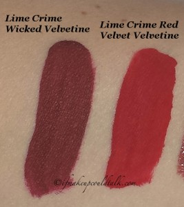 Swatches: Lime Crime Red Velvet and Wicked Velvetine.