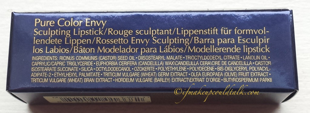 Estee Lauder 210 Impulsive Pure Color Envy Lipstick ingredient list.