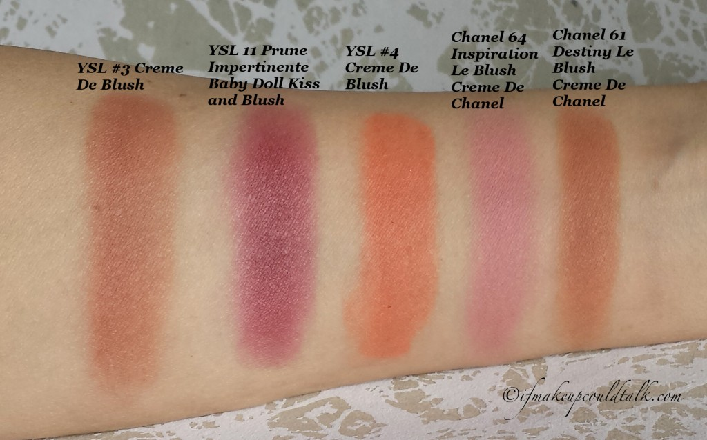Comparison Swatches: YSL #3 Creme De Blush, YSL #11 Prune Impertinente Baby Doll Kiss and Blush, YSL #4 Creme De Blush, Chanel #64 Inspiration, Chane1 #61 Destiny.