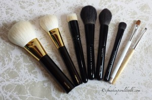 Makeup of the Week:  Glistening and Juicy Lips. Tom Ford Bronzer brush, Tom Ford Cheek Brush, Wayne Goss 01 Brush, Chikuhodo Z-8 Brush, Chikuhodo Z-2 Brush, Chikuhodo Z-5 Brush, Sonia Kashuk Concealer Brush, Billy B #11 Brush.