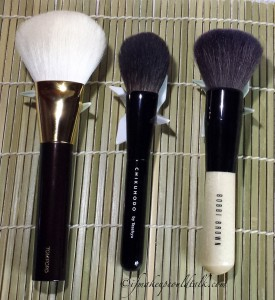 Comparison L-R: Tom Ford Bronzer Brush, Chikuhodo Z-8 Cheek Brush, Bobbi Brown Bronzer Brush.
