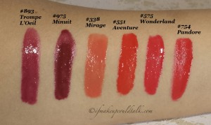 Dior Addict Fluid Stick Swatches L-R: 893 Trompe L'Oeil, 975 Minuit, 338 Mirage, 551 Aventure, 575 Wonderland, and 754 Pandore