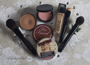 Current Favorites: Chikuhodo Cheek Brush, Cargo Water-Resistant Bronzer, Giorgio Armani Blush #10, Lancome Teint Idole Makeup 340 N, Wayne Goss 01, Chikuhodo Highlighter Brush, Too Faced Chocolate Bronzer, and theBalm Mary-Lou Manizer.