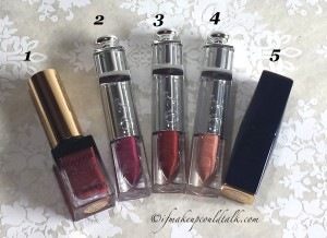 Current Favorites: YSL #11 Prune Impertinence, Dior Addict Fluid Stick 893, 975 Minuit, 219 Whisper Beige, Estee Lauder Pure Color Envy 210.