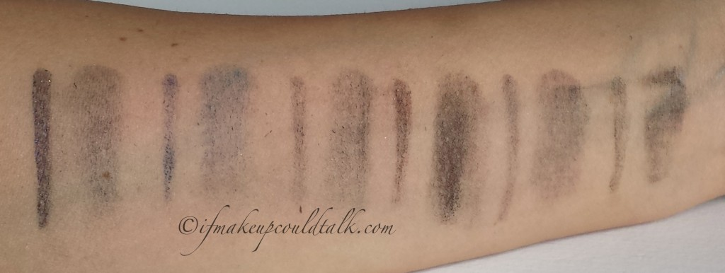 My Bobbi Brown Collection Long-Wear Gel Eyeliner after scrubbing my arm with a makeup wipe: Denim Ink, Cobalt Link,  Twilight Night Shimmer Ink, Chocolate Shimmer Ink, Graphite Shimmer Ink, Forest Shimmer Ink.