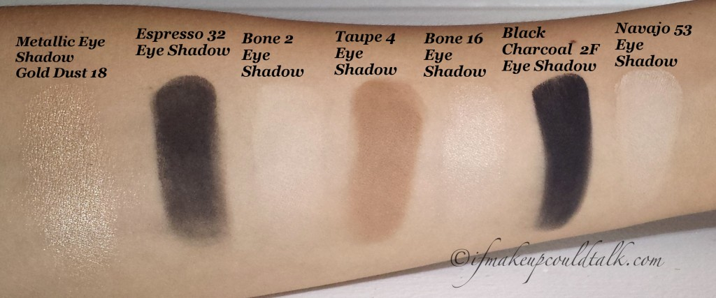 Bobbi Brown Eye Shadow Swatches L-R: Metallic Eye Shadow Gold Dust 18, Espresso 32, Bone 2, Taupe 4, Bone 16, Black Charcoal 2F, Navajo 53.