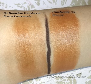 Blended Swatches: Dr. Hauschka Translucent Bronze Concentrate, Chantecaille Radiance Gel Bronzer.