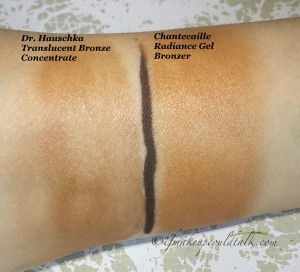 Sheered-out swatches: Dr. Hauschka Translucent Bronze Concentrate, Chantecaille Radiance Gel Bronzer.
