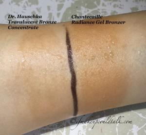 Swatches under tap water for 30 seconds: Dr. Hauschka Translucent Bronze Concentrate, Chantecaille Radiance Gel Bronzer.