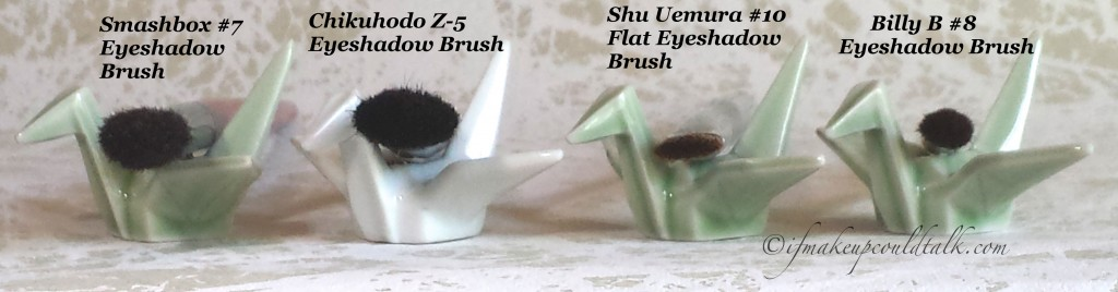 Comparisons: Smashbox #7 Eyeshadow brush, Chikuhodo Z-5 Eyeshadow Brush, Shu Uemura #10 Flat Eyeshadow Brush, Billy  B #8 Eyeshadow Brush.
