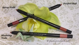 It Cosmetics Your Lips But Better Waterproof Lip Liner Stain in Perfect Red, Blushing Nude and Spicy Nude.